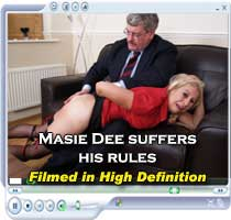 Masie Dee gets the ruler on her bare bottom