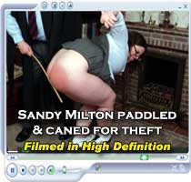 Schoolgirl thief Sandy Milton whipped red raw